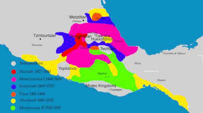 Map of maximum expansion of the Aztec Empire